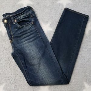 American Eagle Dark Wash Straight Jeans 4 Short